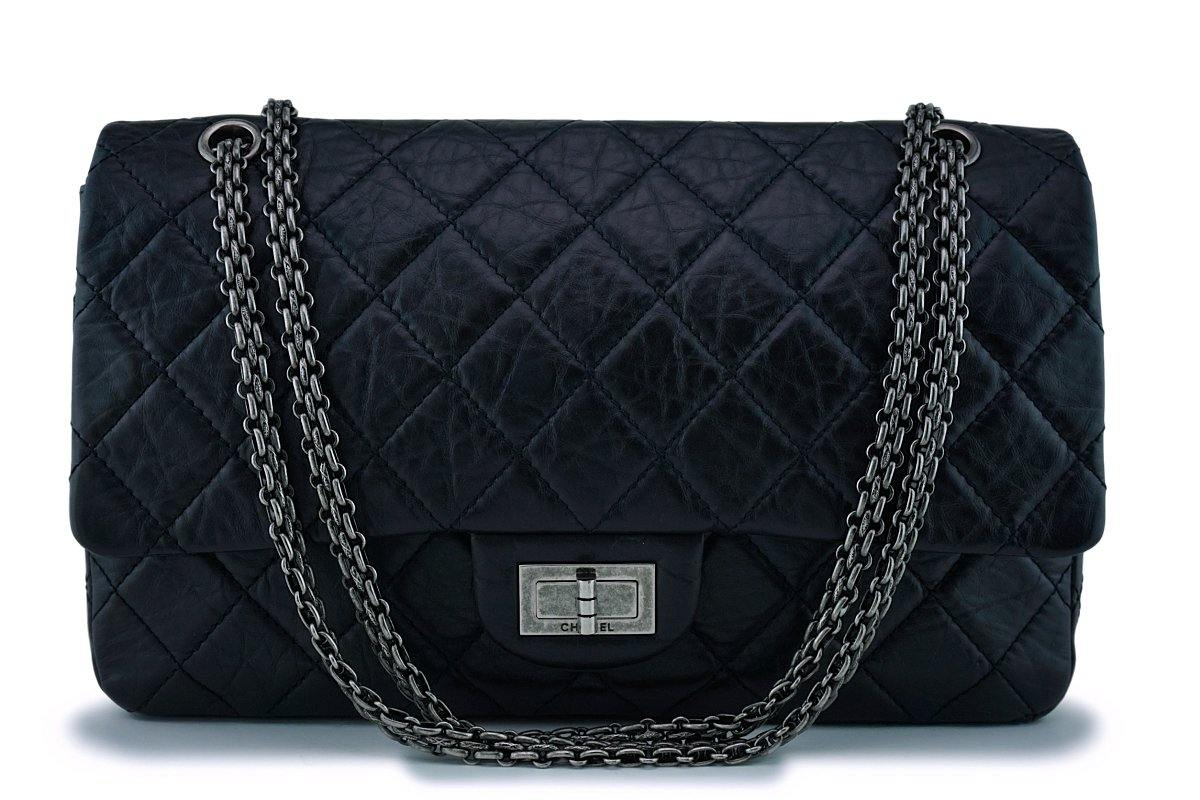 Chanel Black 2.55 Jumbo 227 Classic Double Flap Bag RHW