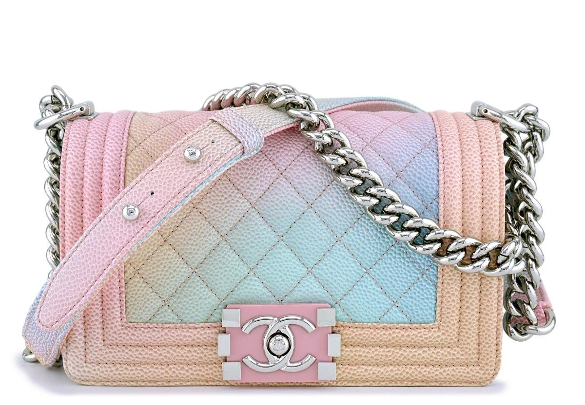 60414b54e679 New 18P Chanel Caviar Pastel Rainbow Classic Boy Flap Bag