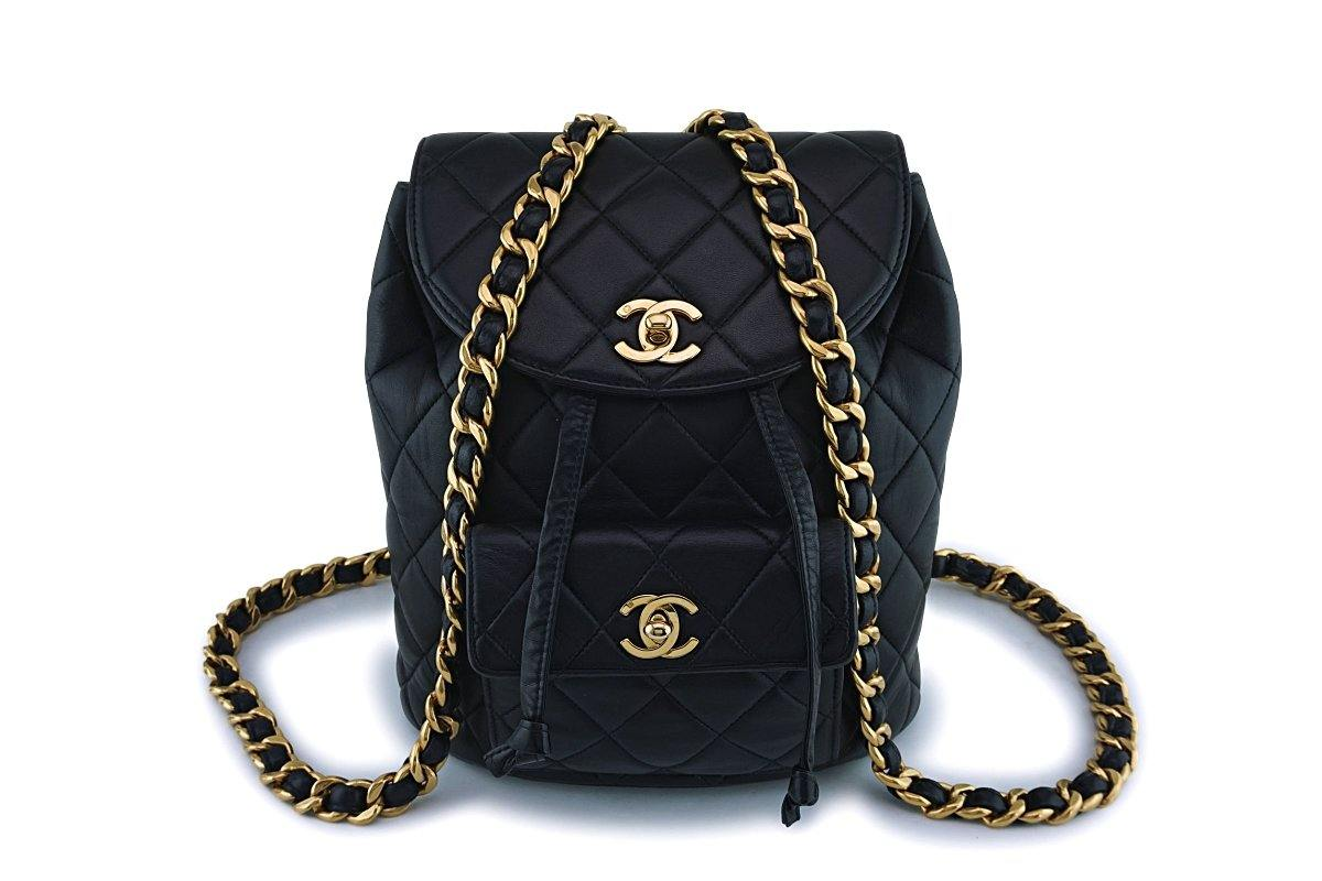 Chanel Vintage Black Lambskin Classic Quilted Backpack Bag 24k GHW - Boutique Patina