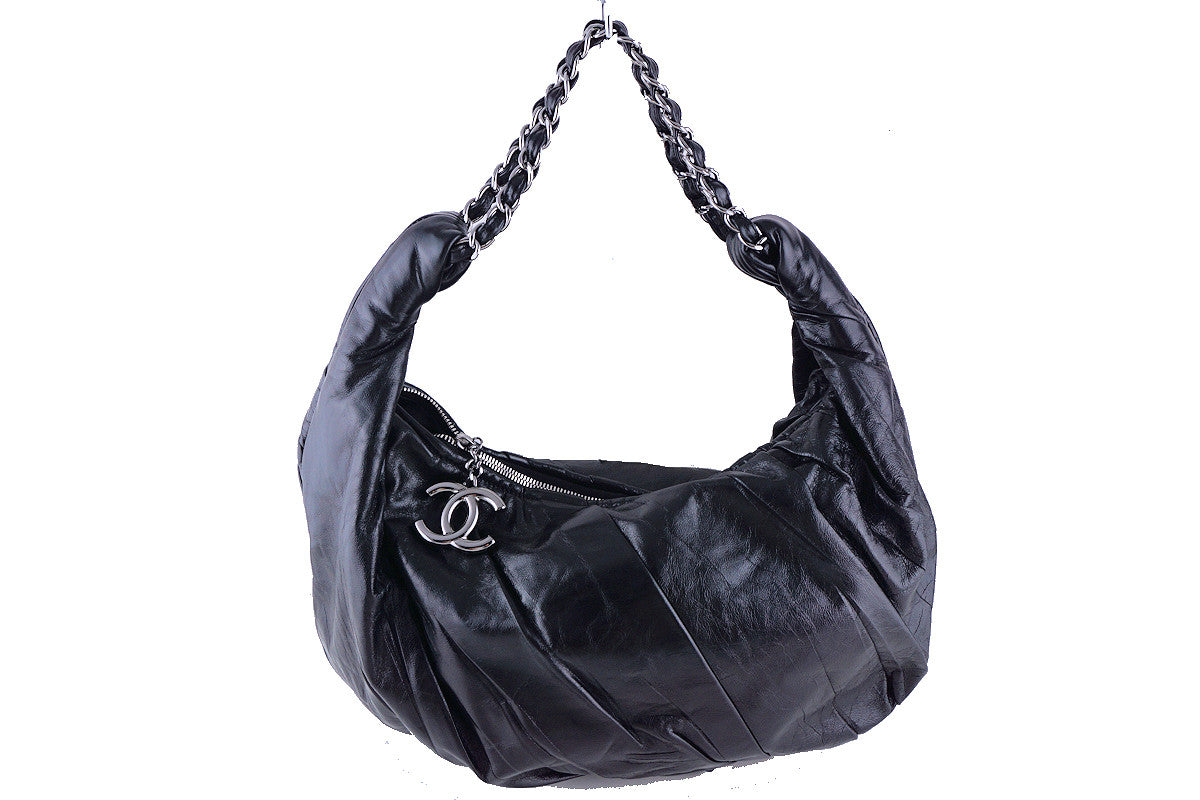 Chanel Black Ruched Luxury Hobo Tote Bag CC Charm