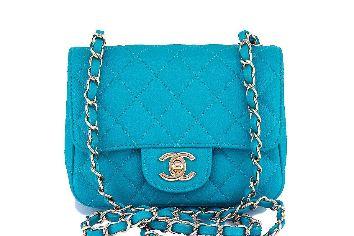 61ba225c347f 17C Chanel Caviar Turquoise Classic Quilted Square Mini Flap Bag