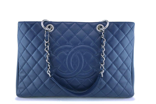 Chanel Navy Blue Caviar Grand Shopper Tote XL Bag SHW