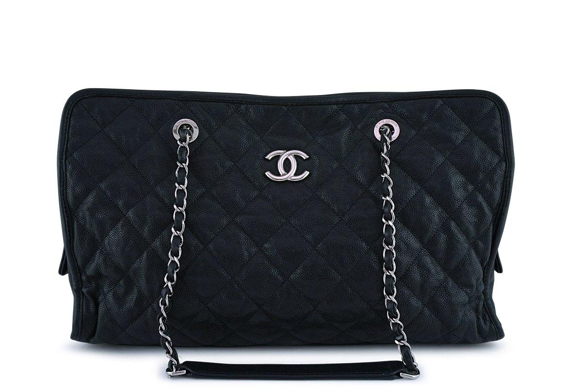 Chanel Black Caviar French Riviera Classic Shopper Tote GST Bag