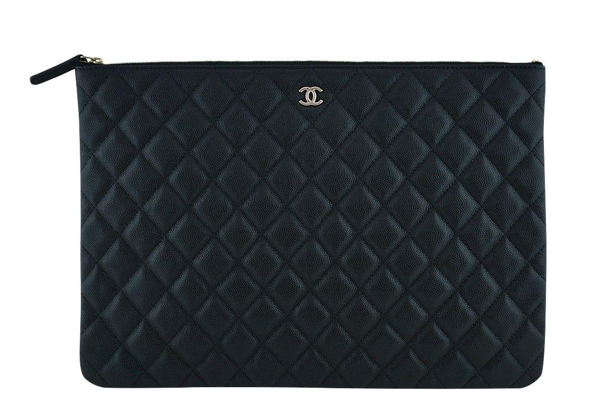 17S Chanel Black Caviar Classic Quilted O Case Clutch Purse Bag Large GHW