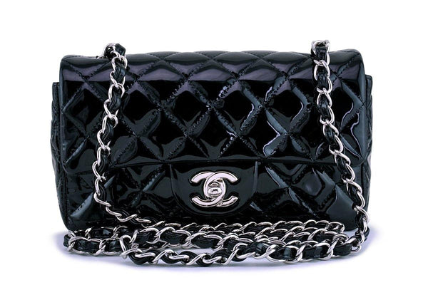 Chanel Black Patent Classic Quilted Rectangular Mini 2.55 Flap Bag