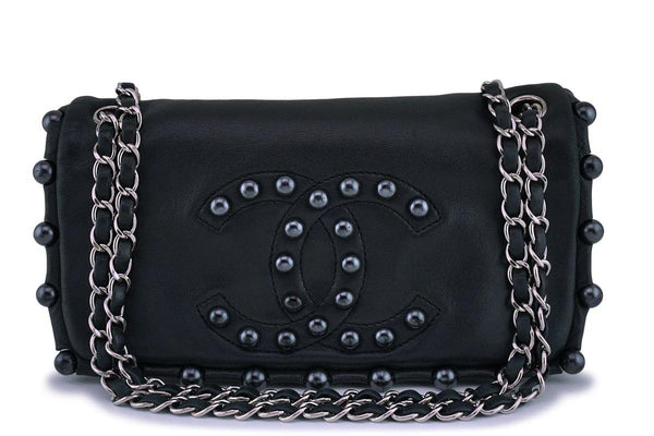Chanel Pearl Obsession Black Jeweled Flap Bag SHW