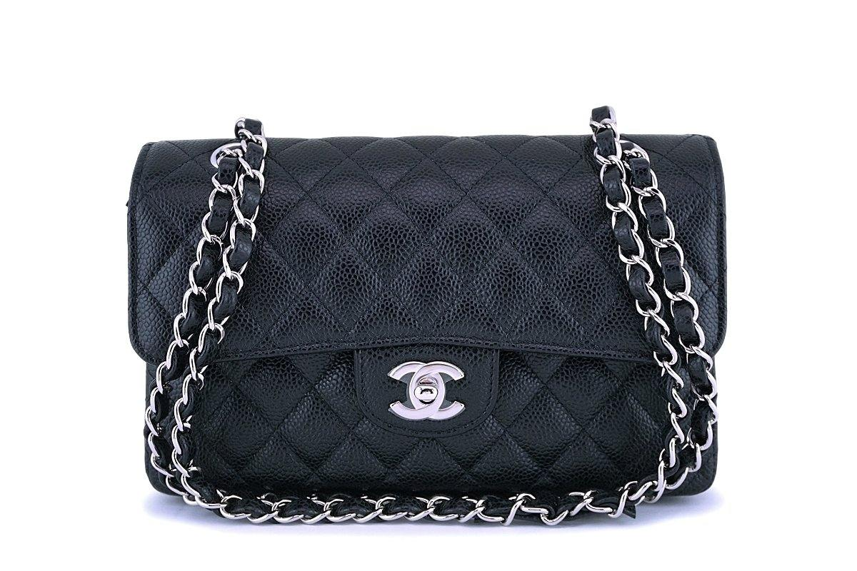NIB Chanel Black Caviar Small Classic Double Flap Bag SHW
