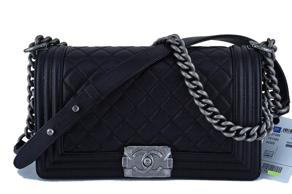 NWT 17P Chanel Black Le Boy Classic Flap, Medium Caviar Bag RHW