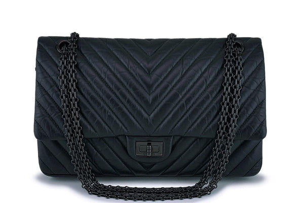 Chanel So Black Reissue 226 Chevron Medium-Large 2.55 Double Flap Bag