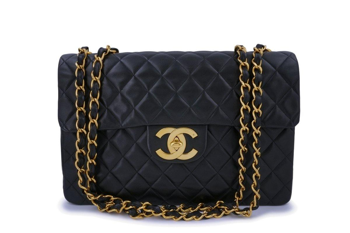 "Chanel Black Vintage Lambskin Maxi ""Jumbo XL"" Classic Flap Bag 24k GHW - Boutique Patina"