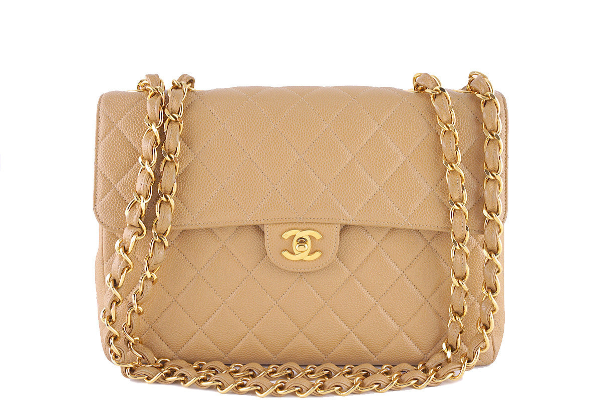Chanel Beige Caviar Jumbo Quilted Classic 2.55 Flap Bag - Boutique Patina  - 1
