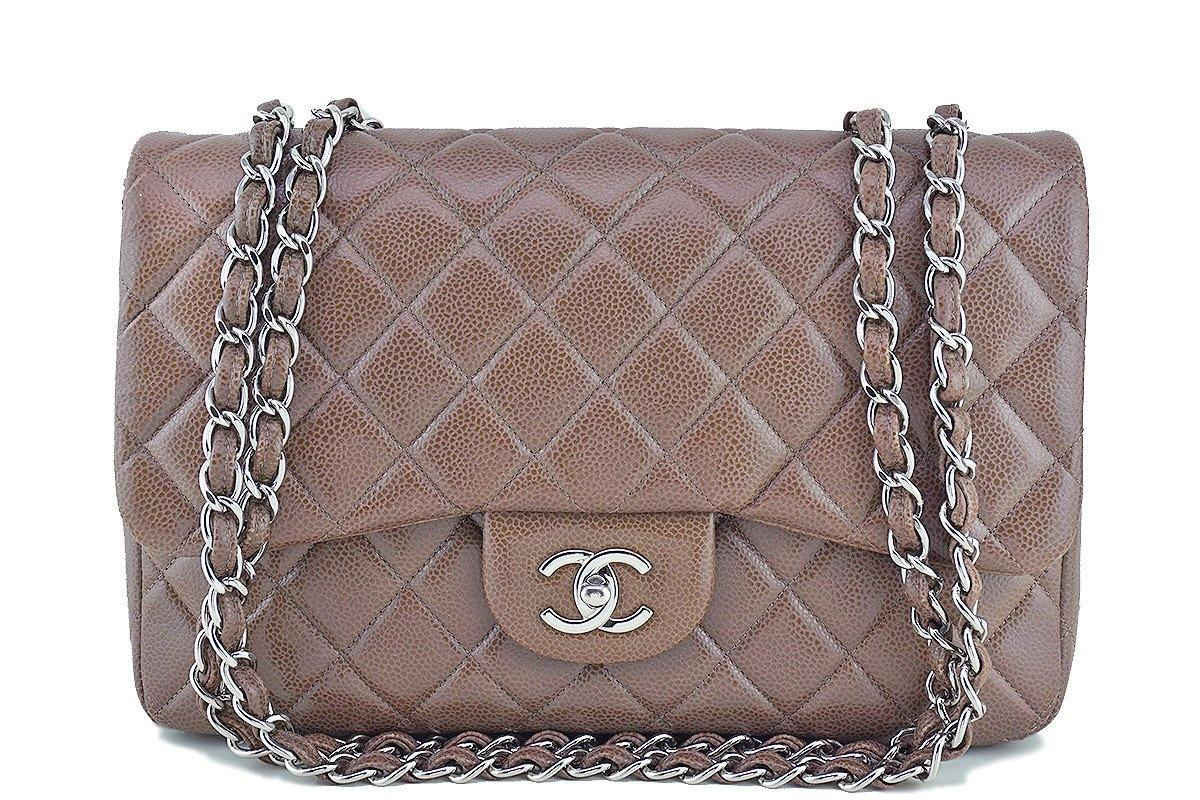 Chanel Taupe Beige Caviar Jumbo 2.55 Classic Flap Bag - Boutique Patina  - 1