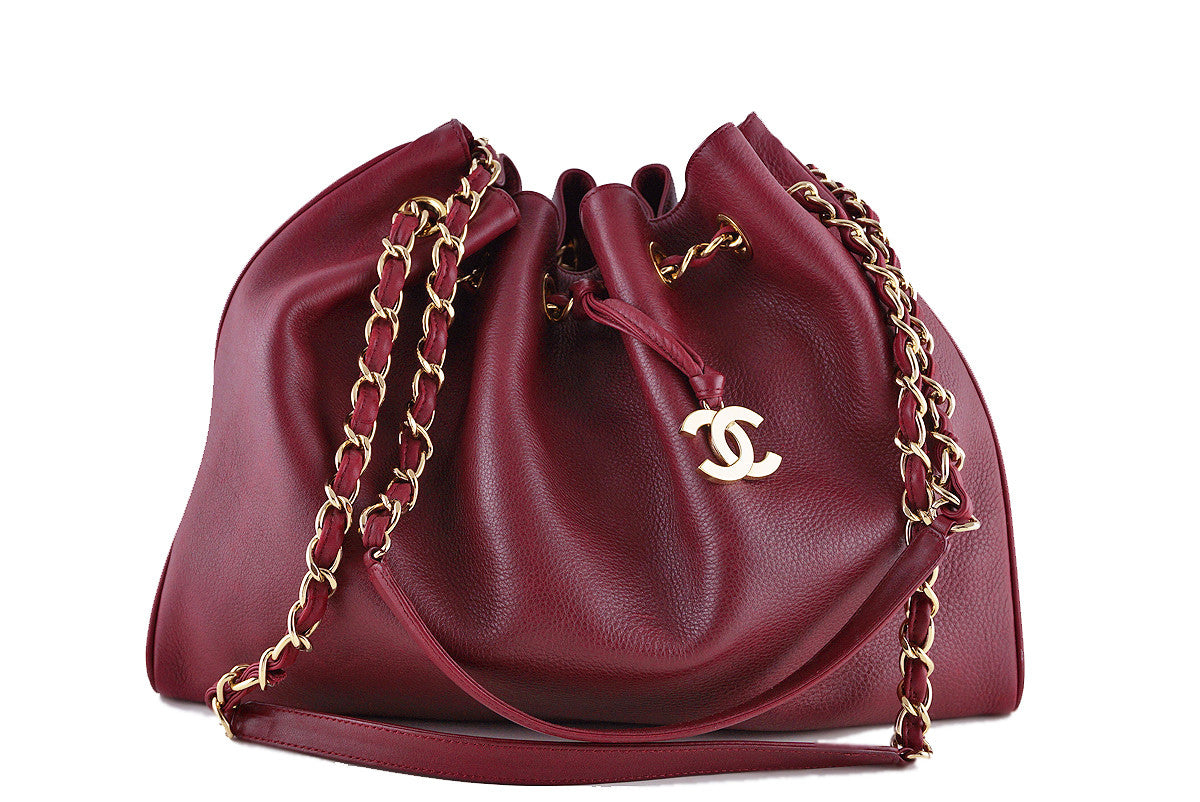 Chanel Red Soft Textured CC Logo Drawstring Tote Shopper Bag - Boutique Patina  - 1
