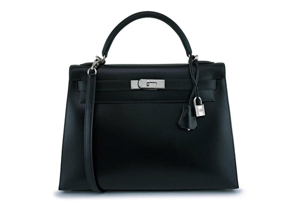 Hermes Black Box calf 32cm Sellier Kelly Shoulder Bag 32 PHW