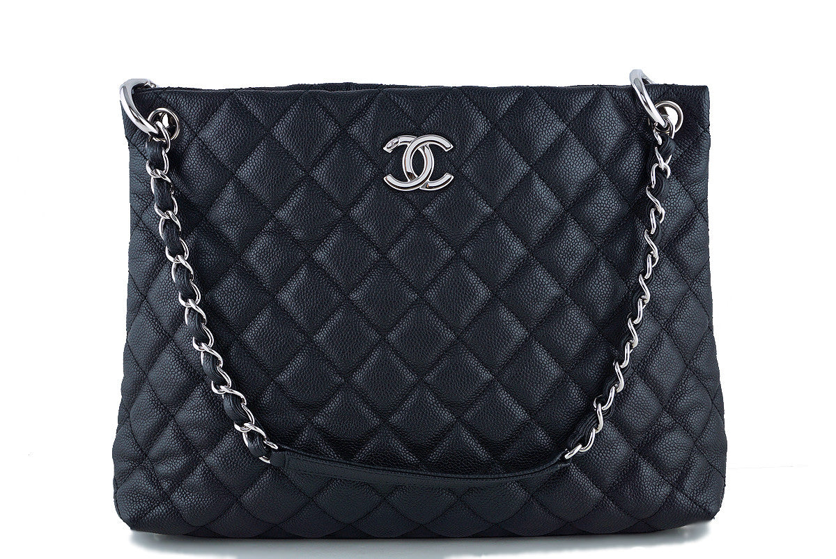 Chanel Black Caviar Classic Quilted Shopper Tote Bag