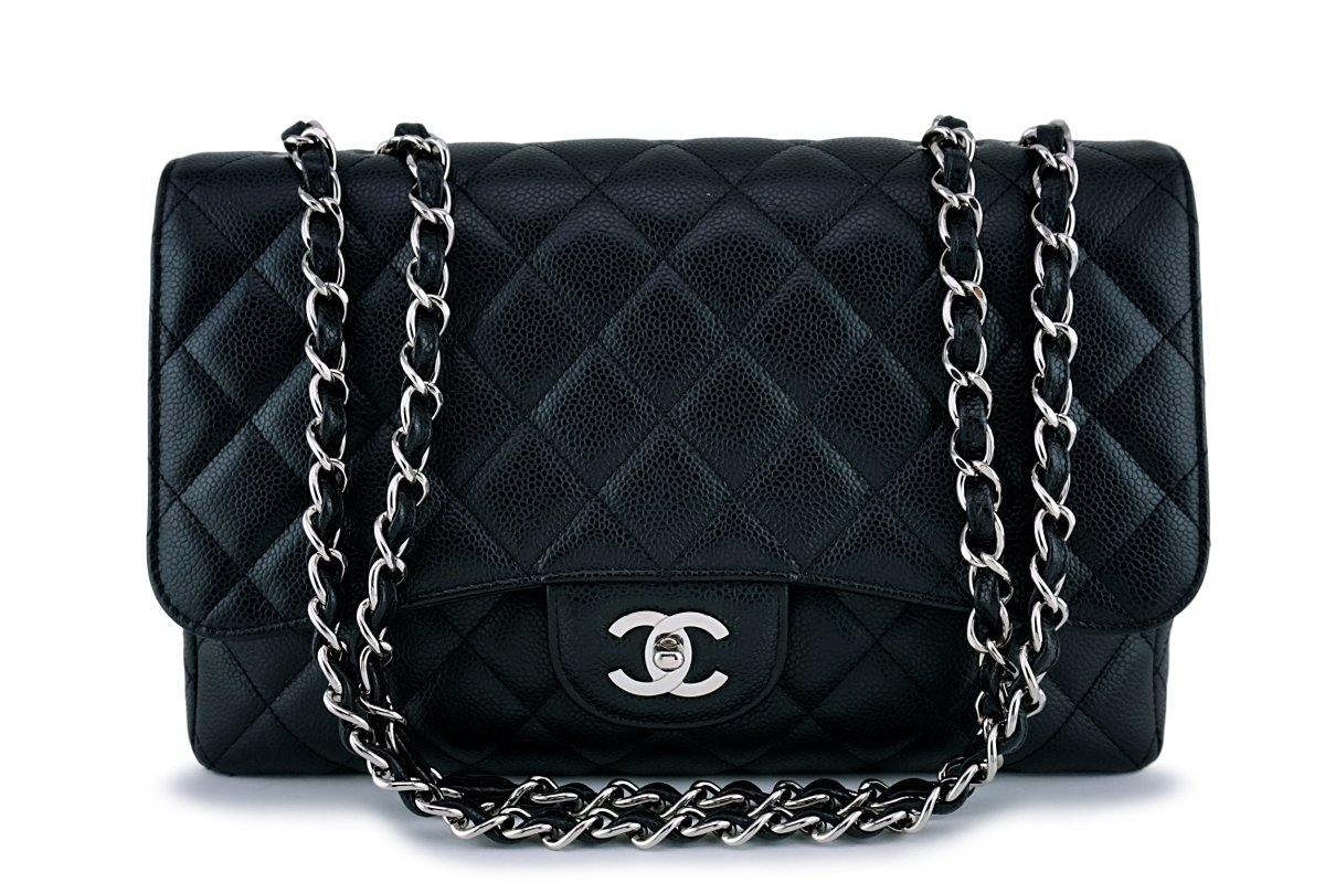 Chanel Black Caviar Jumbo Quilted Classic Flap Bag SHW