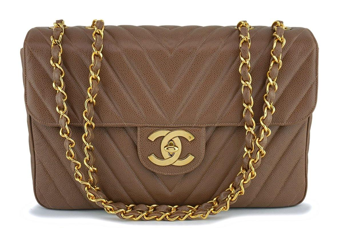 "Chanel Vintage Taupe Beige Caviar Chevron Maxi ""Jumbo XL"" Classic Flap Bag 24k GHW"