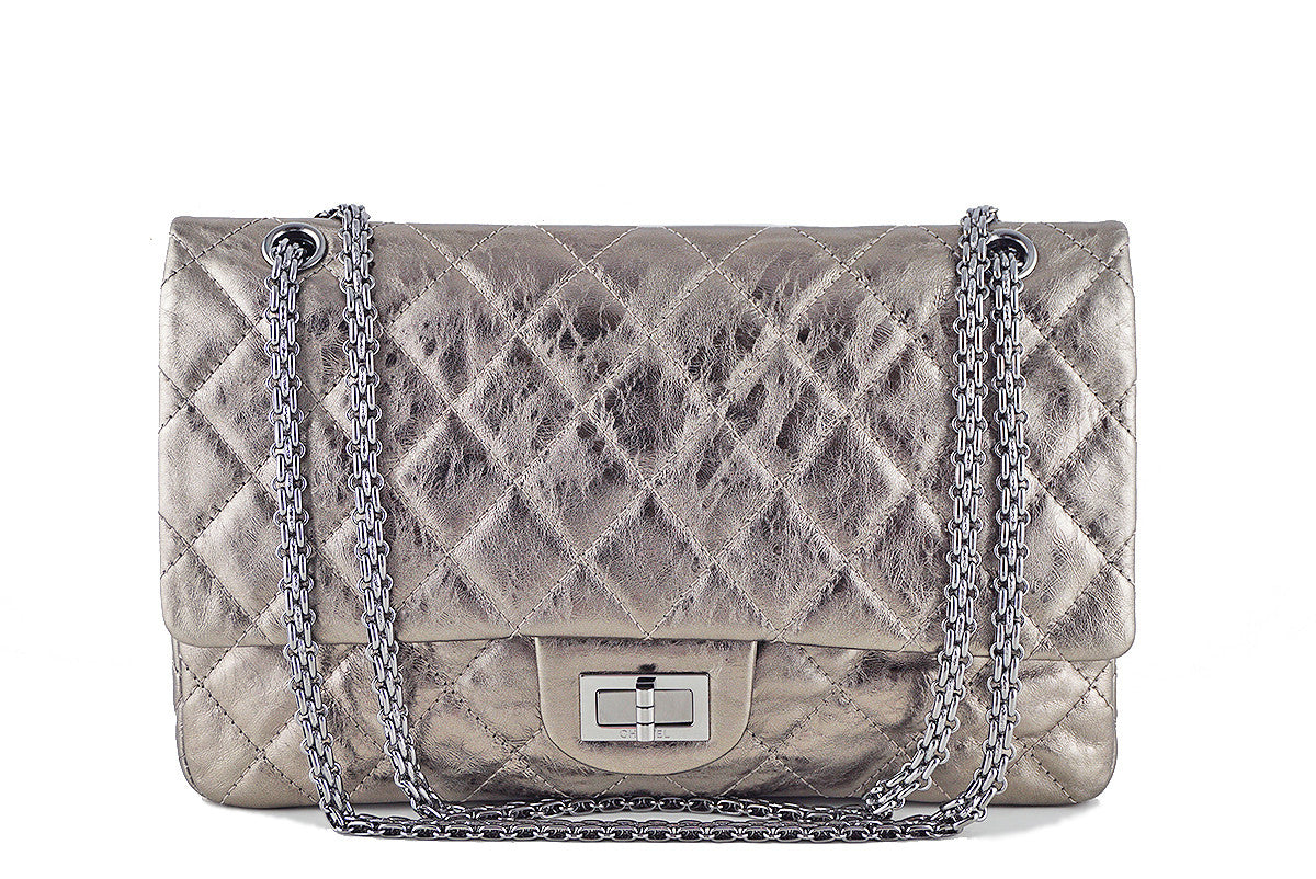 Chanel Reissue 227 Jumbo Flap, Silver Pewter Classic Bag