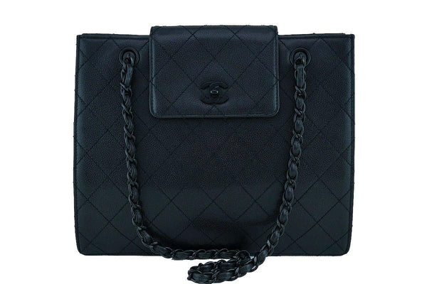 Chanel So Black Caviar Medium Quilted Classic Tote Bag Flap Closure
