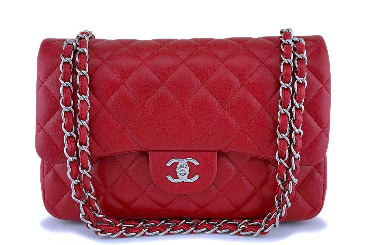 Chanel Red Caviar Jumbo Classic Double Flap Bag SHW