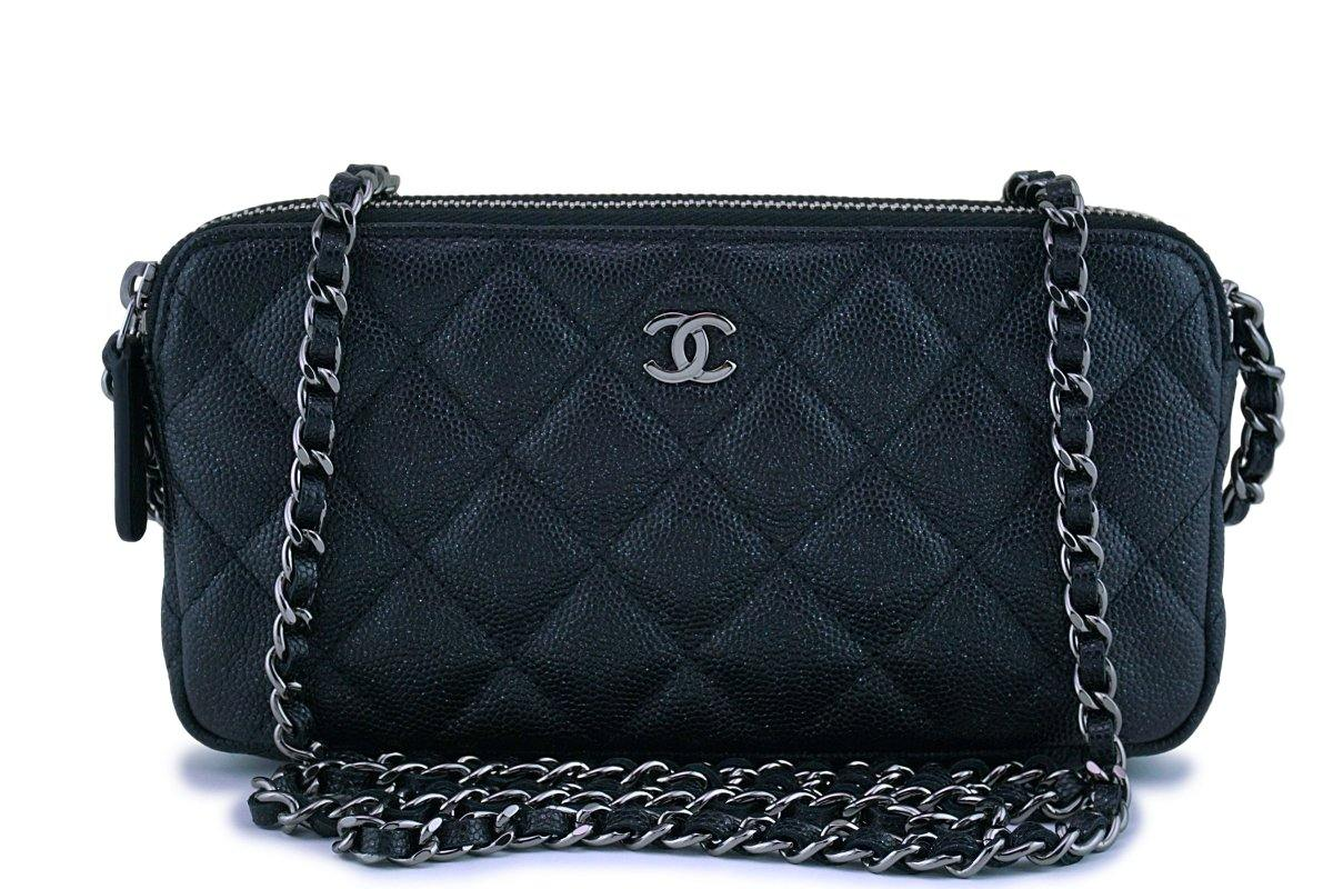 New Chanel Iridescent Black Caviar Mini Zip Case Wallet on Chain WOC Bag