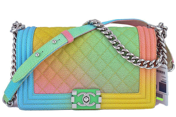 NWT 17C Chanel Boy Cuba Multicolor Rainbow Classic Flap, Medium Caviar Bag