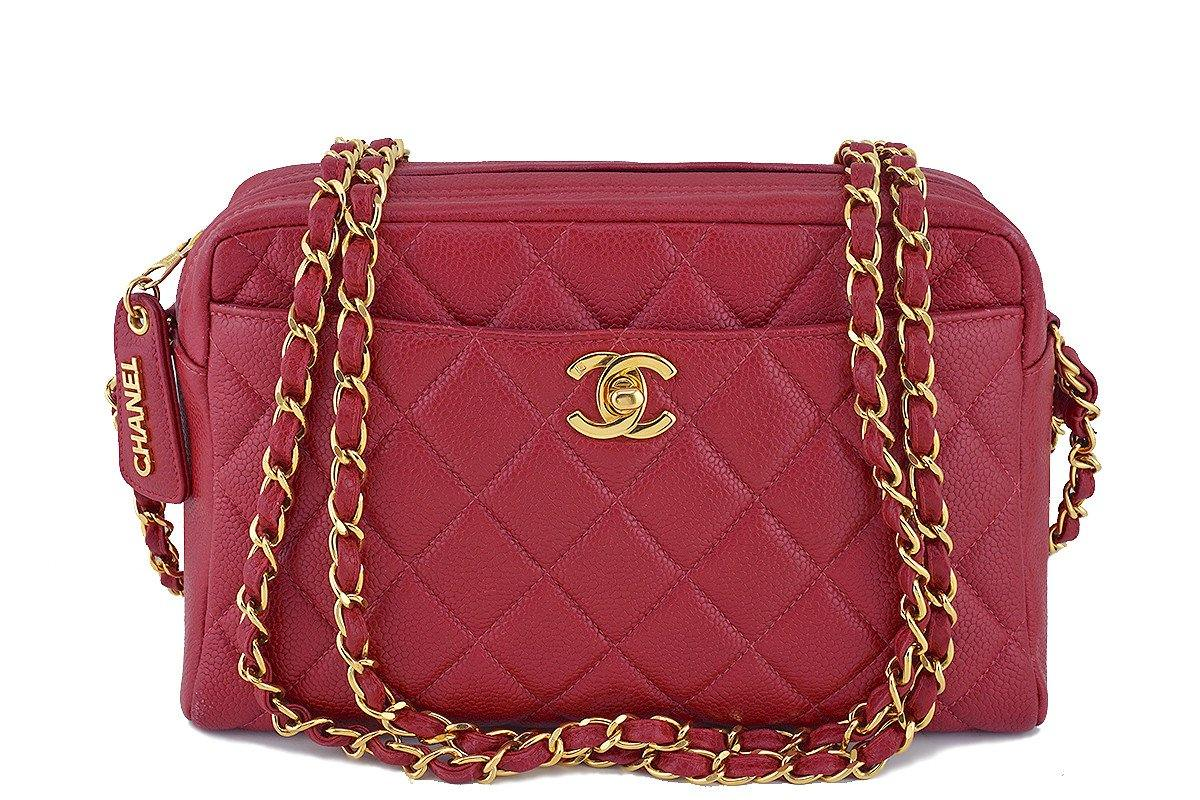 Chanel Red Caviar Classic Camera Case CC Clasp Pocket Bag
