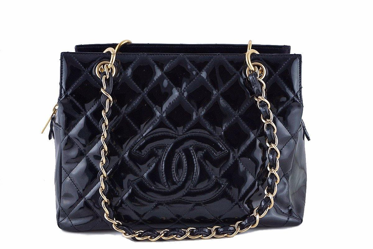 Chanel Black Patent Quilted Timeless Shopper Tote Bag