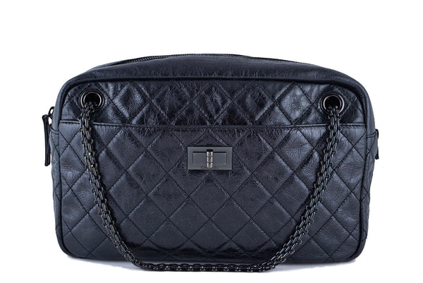 Chanel Dark Metallic Gray Classic 2.55 Reissue Camera Case Bag, Black HW