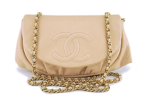 Chanel Beige Clair Caviar Half Moon WOC Wallet on Chain Flap Bag GHW