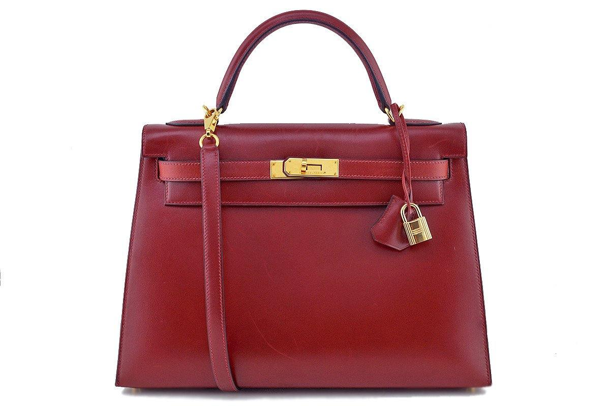 Hermes Rouge H Red 32cm Box calf Kelly Sellier Bag - Boutique Patina  - 1