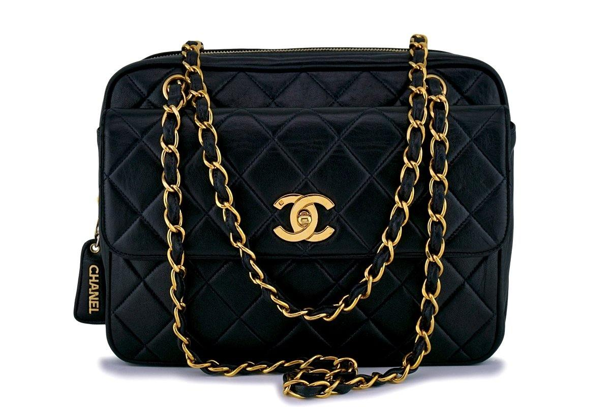 Chanel Black Vintage Classic Quilted Flap Camera Case Bag 24k GHW