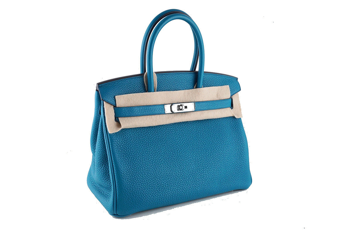 "Hermes Birkin Bag, 30cm Blue Izmir Togo PHW ""Q"" Stamp Rare - Boutique Patina  - 1"
