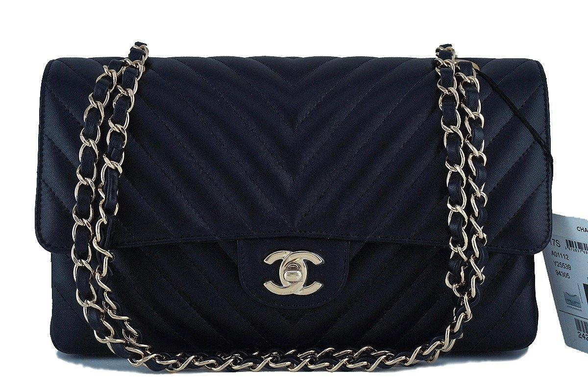 e0ac729590e2 Chanel Chevron Classic Flap Medium Lambskin Bag New