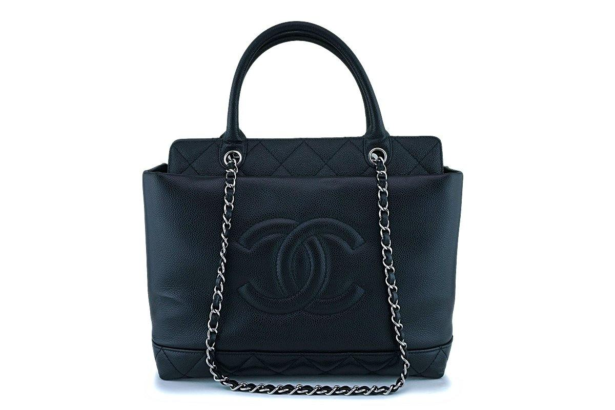 Chanel Black Caviar Logo Classic Two Way Classic Tote Bag SHW - Boutique Patina