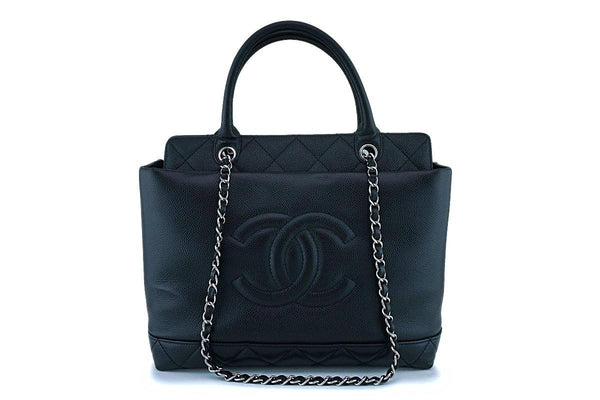 Chanel Black Caviar Logo Classic Two Way Classic Tote Bag SHW