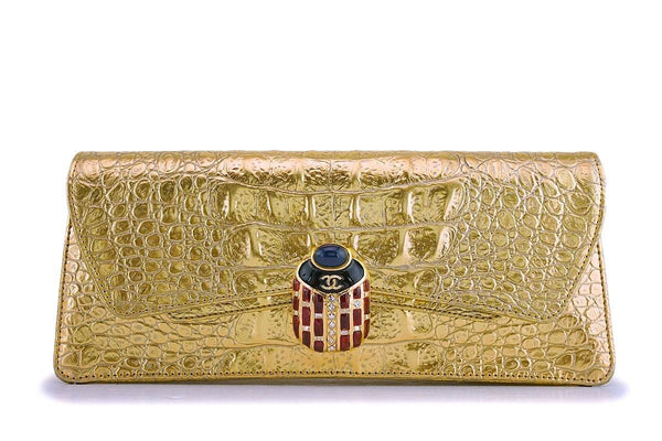 NIB 19A Chanel Gold Crocodile Embossed Limited Evening Clutch Bag