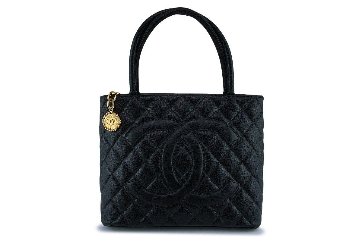 Chanel Black Caviar Timeless Medallion Shopper Tote Bag GHW