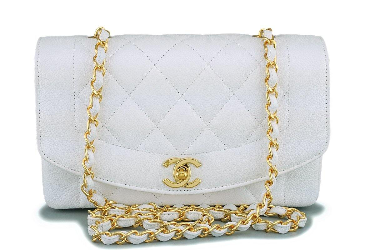 *rare* Chanel White Vintage Caviar Small Diana Classic Flap Bag 24k GHW