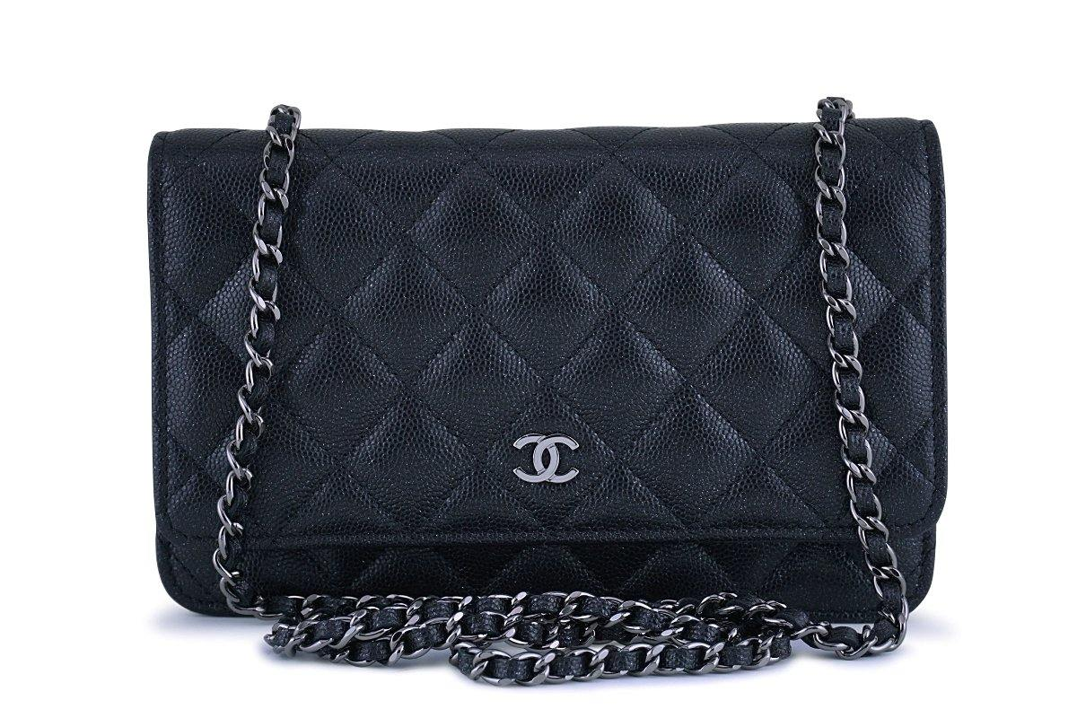 1540800af28971 New 18C Chanel Iridescent Black Caviar Quilted WOC Wallet on Chain Fla