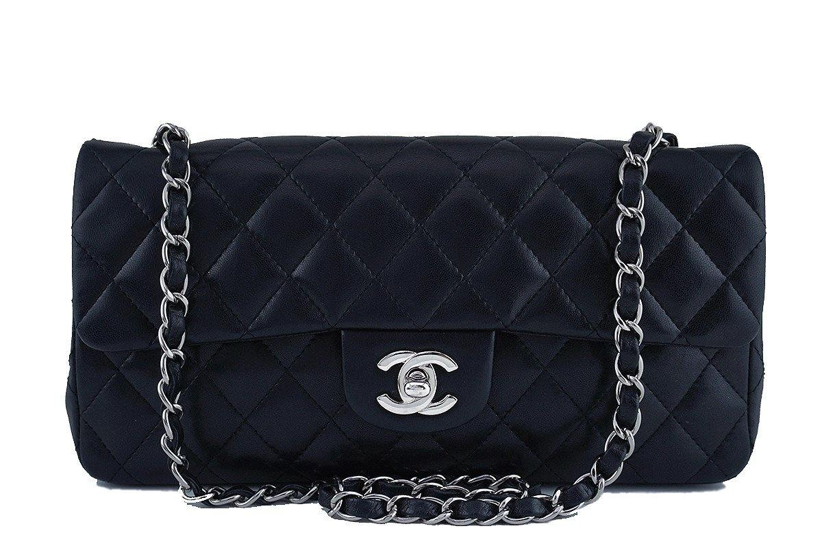 212d8f14b1a Chanel Black Lambskin East West Classic 2.55 Shoulder Flap Bag