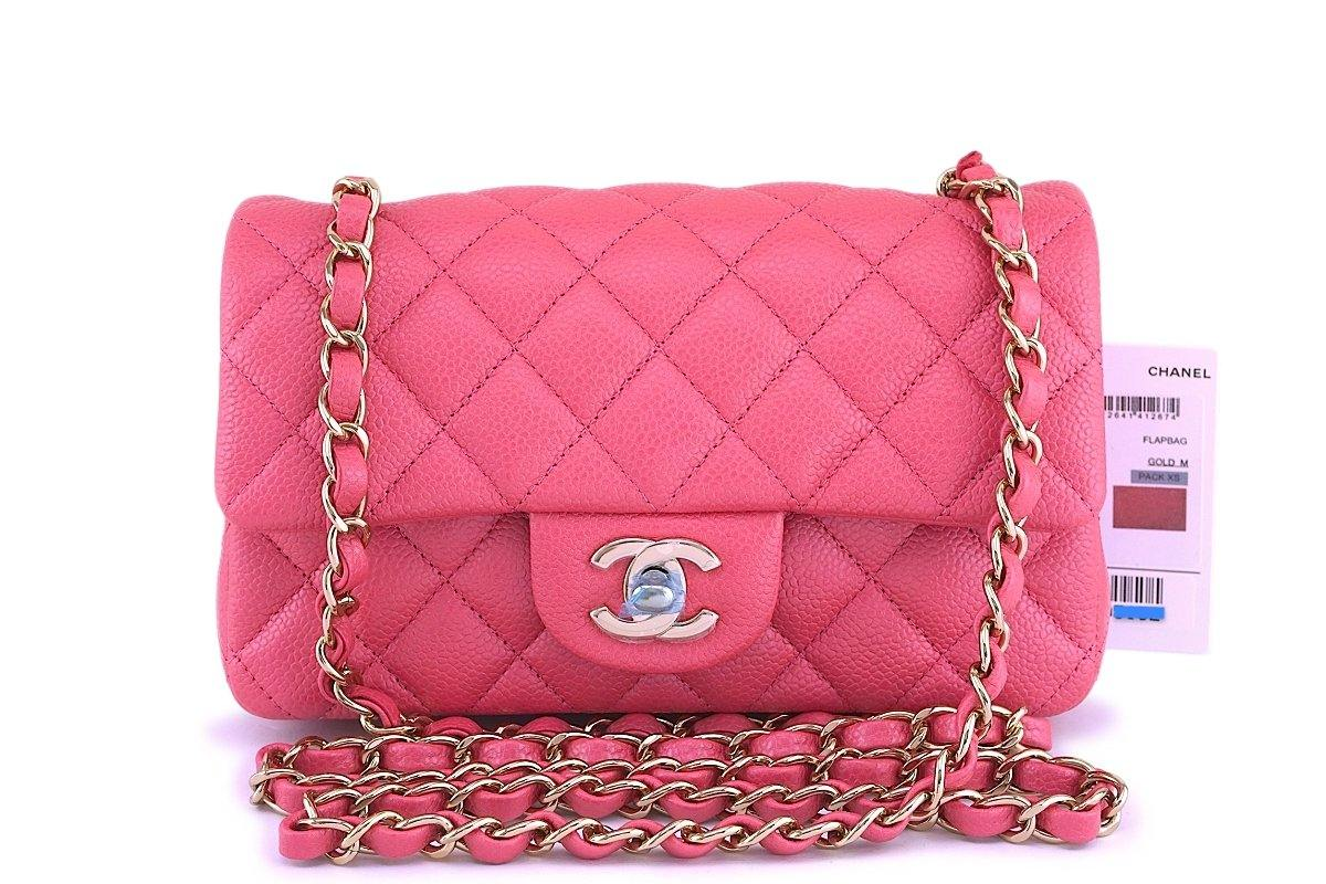 fc8af0af9fa0 NWT 18S Chanel Pearly Pink Caviar Classic Quilted Rectangular Mini Fla