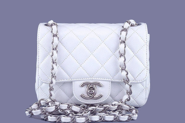 79cc6ccc845af6 Chanel White Caviar Classic Quilted Square Mini 2.55 Flap Bag