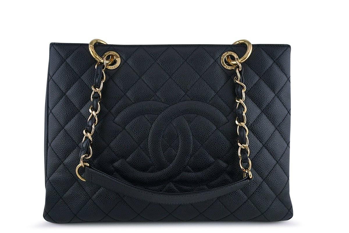 Chanel Black Caviar Classic Grand Shopper Tote GST Shopping Bag GHW