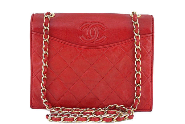 Chanel Vintage Red Quilted Small Lambskin Vintage Logo Classic Flap Bag