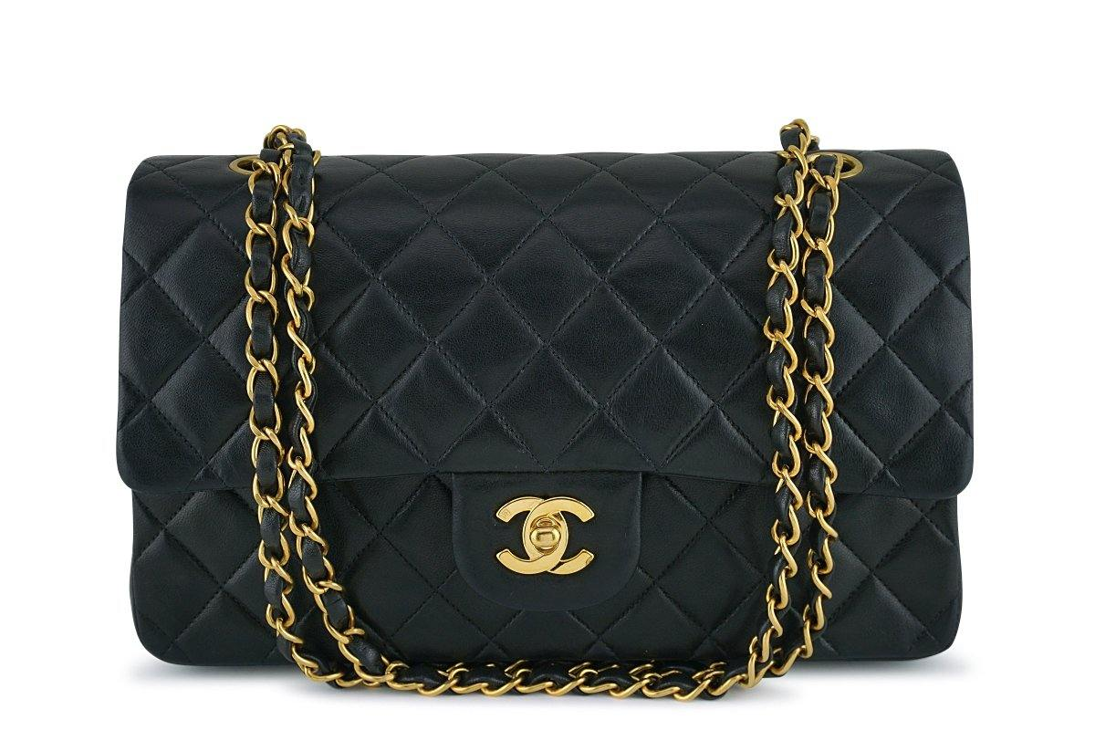 Chanel Black Lambskin Medium Classic 2.55 Double Flap Bag 24K Gold Plated