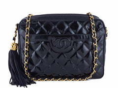 Chanel Black Patent Classic Quilted Camera Case Bag - Boutique Patina  - 1