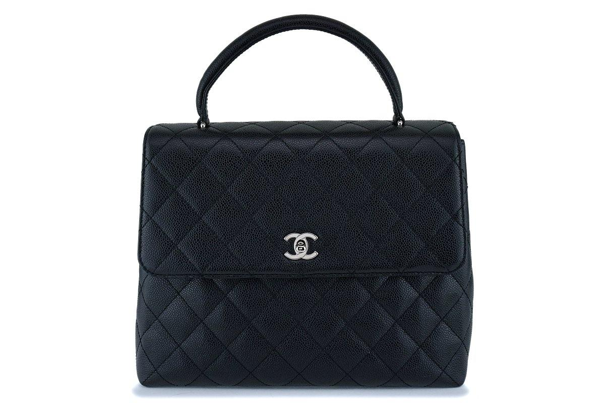 Chanel Black Caviar Quilted Classic Kelly Flap Tote Bag SHW 5e94fee3c1a97
