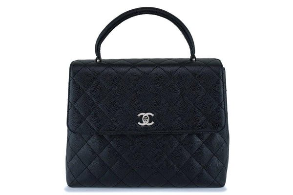 Chanel Black Caviar Quilted Classic Kelly Flap Tote Bag SHW