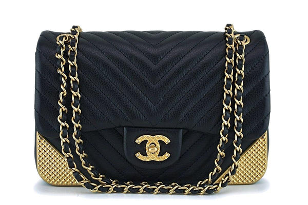 Chanel Black Limited Rock the Corner Rectangular Mini Chevron Classic Flap Bag GHW